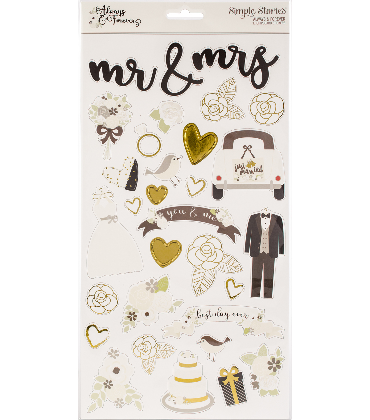 Simple Stories Always & Forever 31 pk Chipboard Stickers with Gold Foil