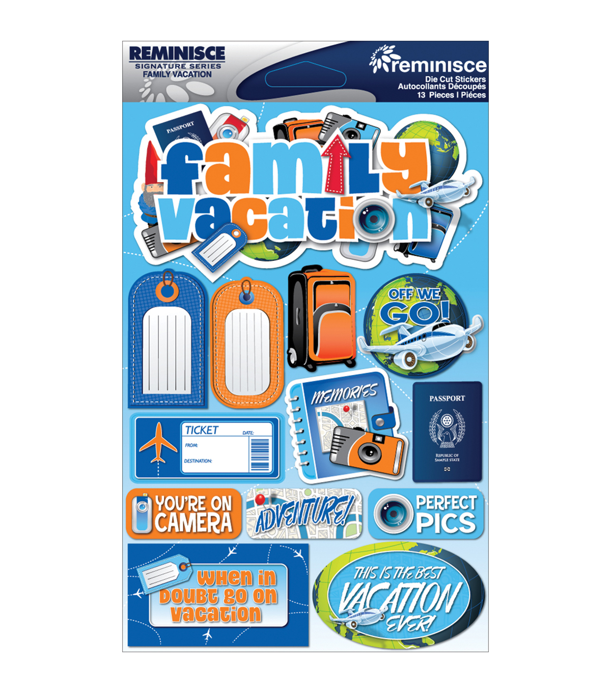 Reminisce Signature Dimensional Stickers Family Vacation