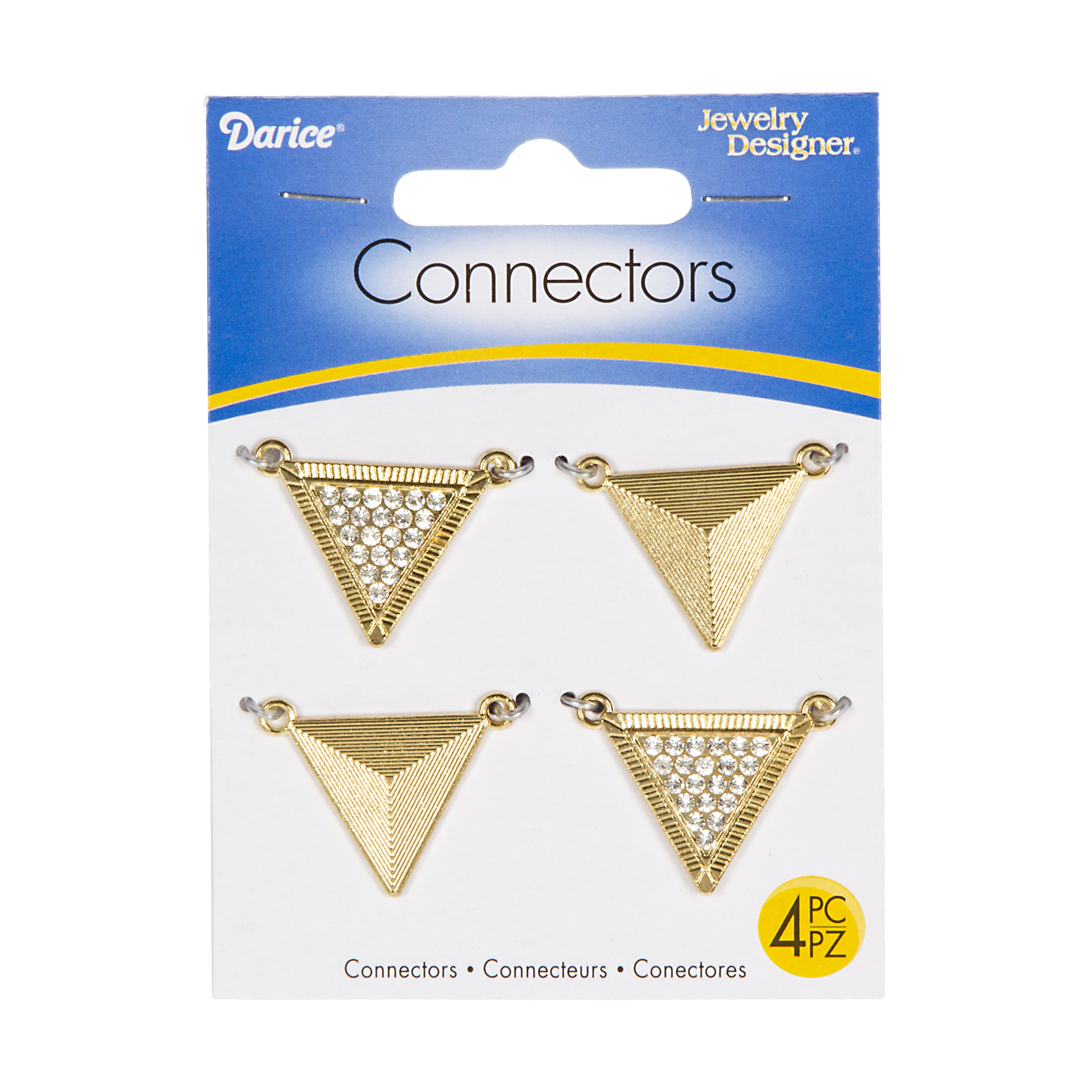 Gold Triangle Shaped Connectors, Lined and Rhinestone Accented, 4pcs.