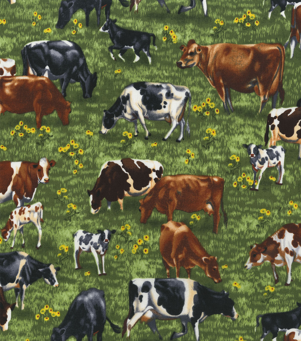 Novelty Cotton Fabric 44\u0022-Cows Grazing