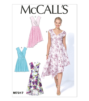 McCall Pattern M7317-E50 Misses\u0027 Pleated Surplice Dresses-14-16-18-20-22