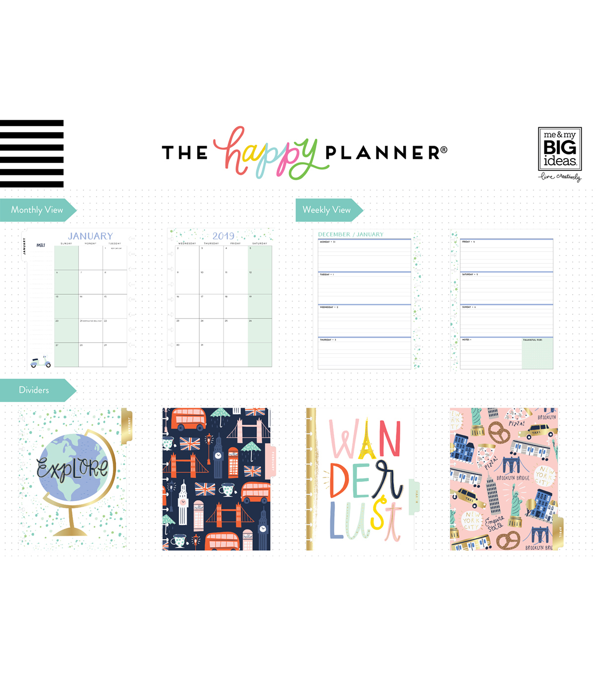 Me & My Big Ideas Happy Planner 12 Month Classic Planner-Wanderlust