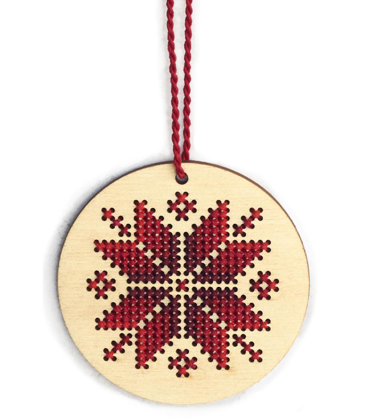 Dimensions Wood Ornament Stitch Kit-Nordic Snowflake