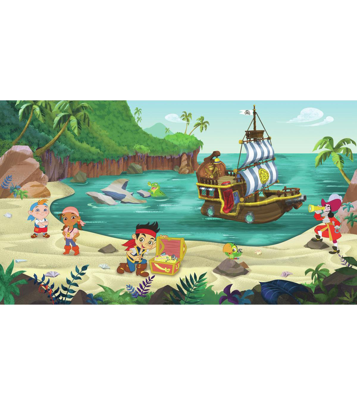 York Wallcoverings Pre Pasted Mural-Jake & The Never Land Pirates