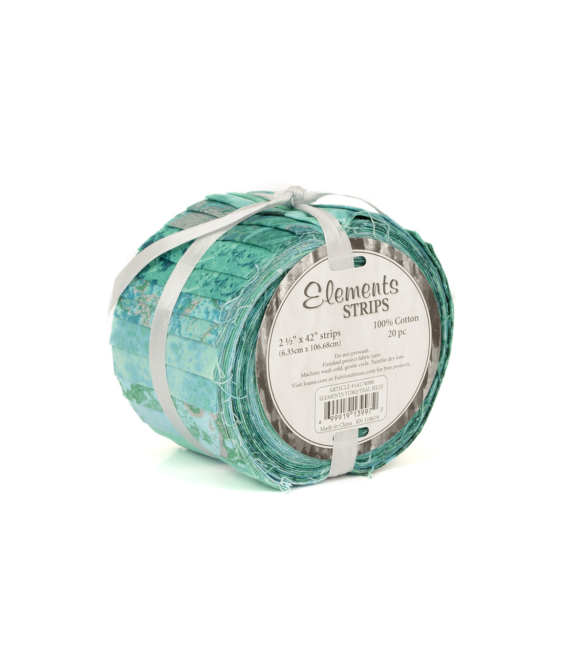 Eclectic Elements Jelly Roll Cotton Fabric 2.5\u0022-Turquoise  & Teal