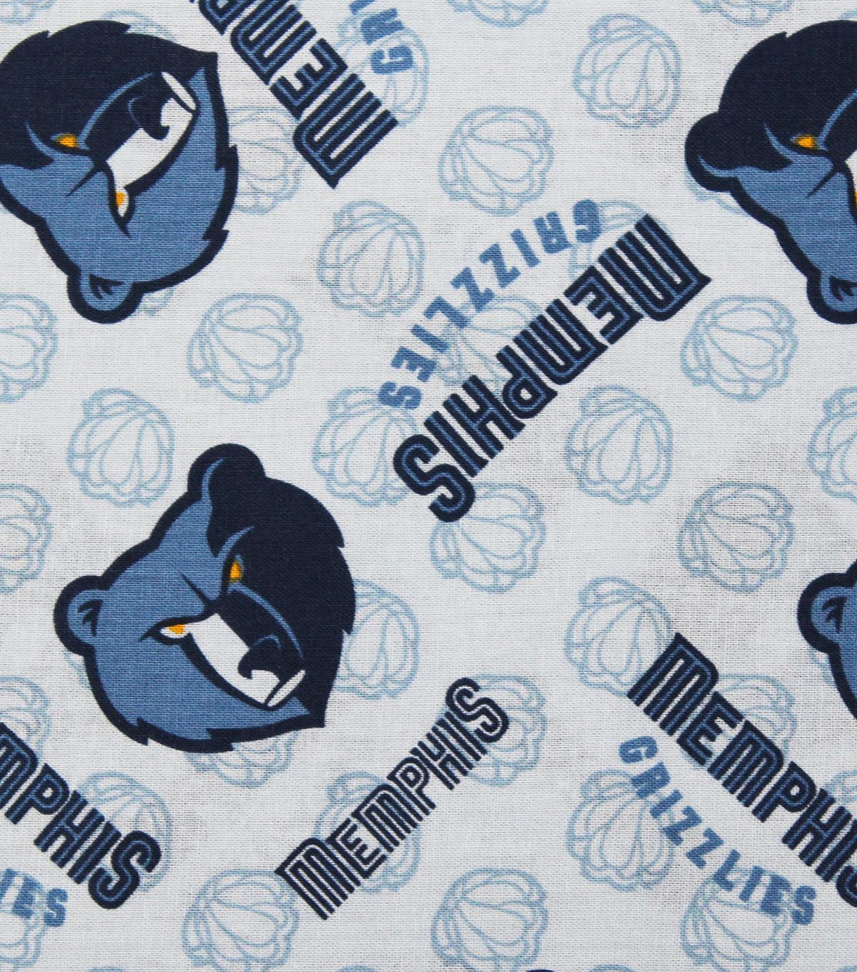 Memphis Grizzlies Cotton Fabric -Logo Toss