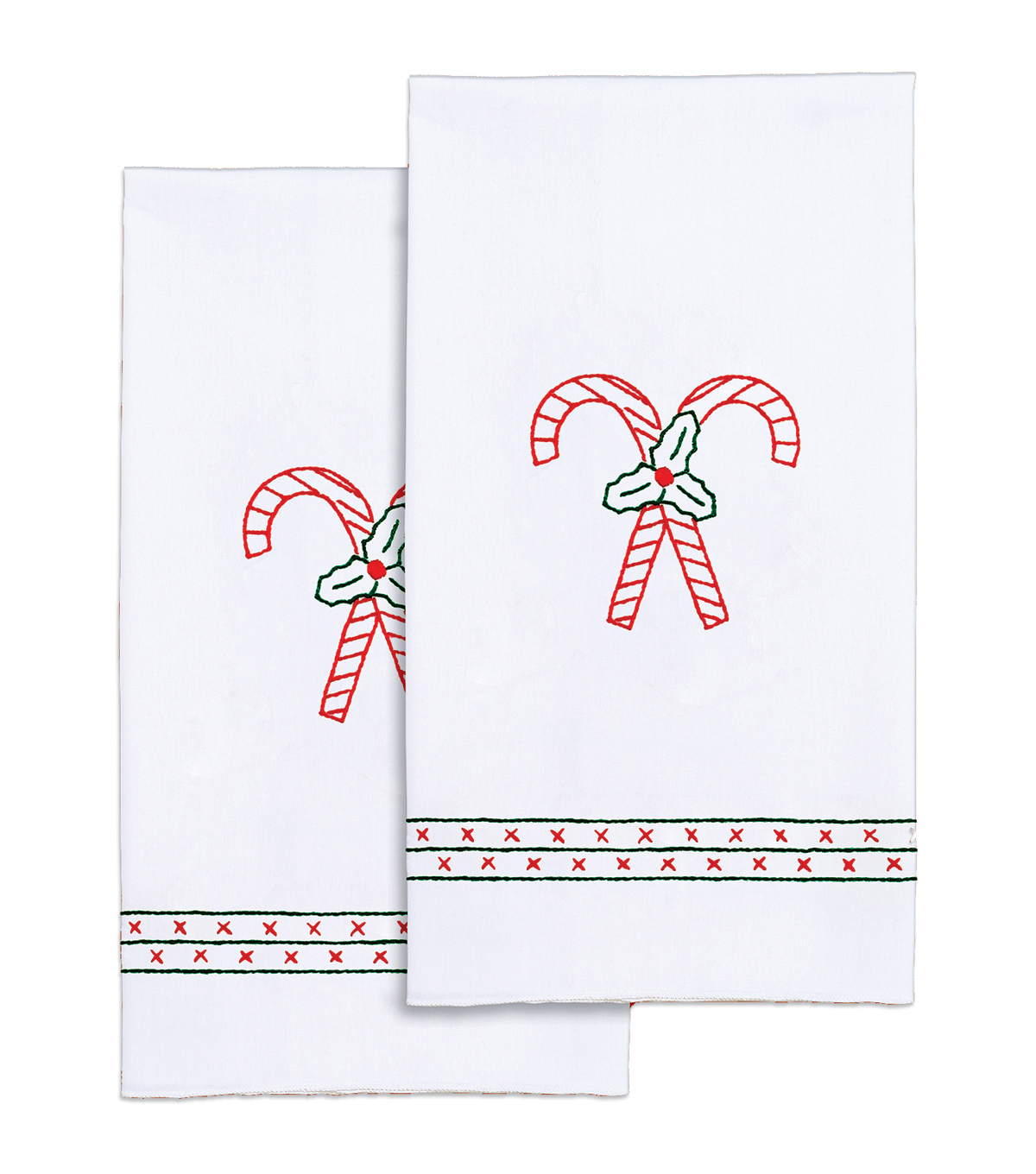 Jack Dempsey Stamped Decorative Hand Towel Candy Canes