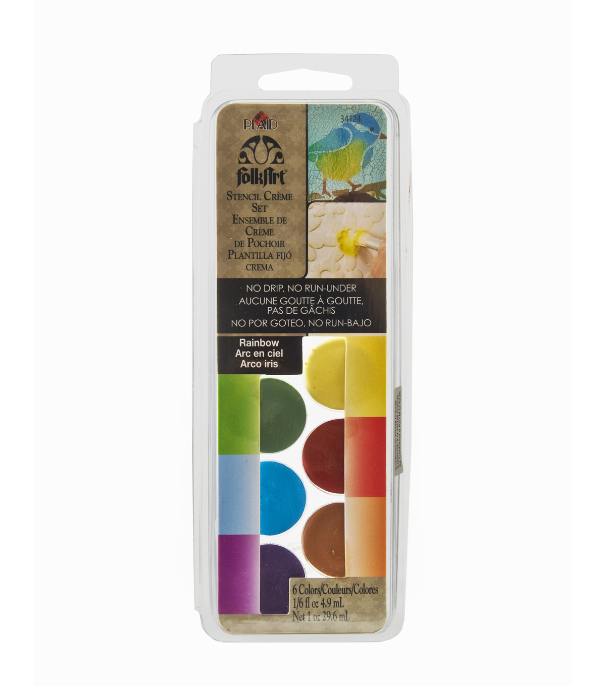 FolkArt Dry Brush Stencil Creme Set-Rainbow