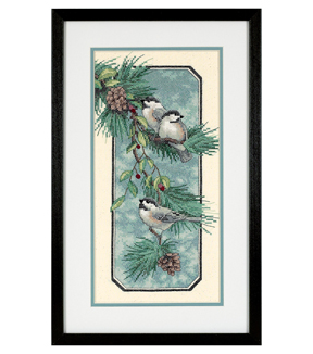Dimensions Stamped X-Stitch Kit, Chickadees on a Branch