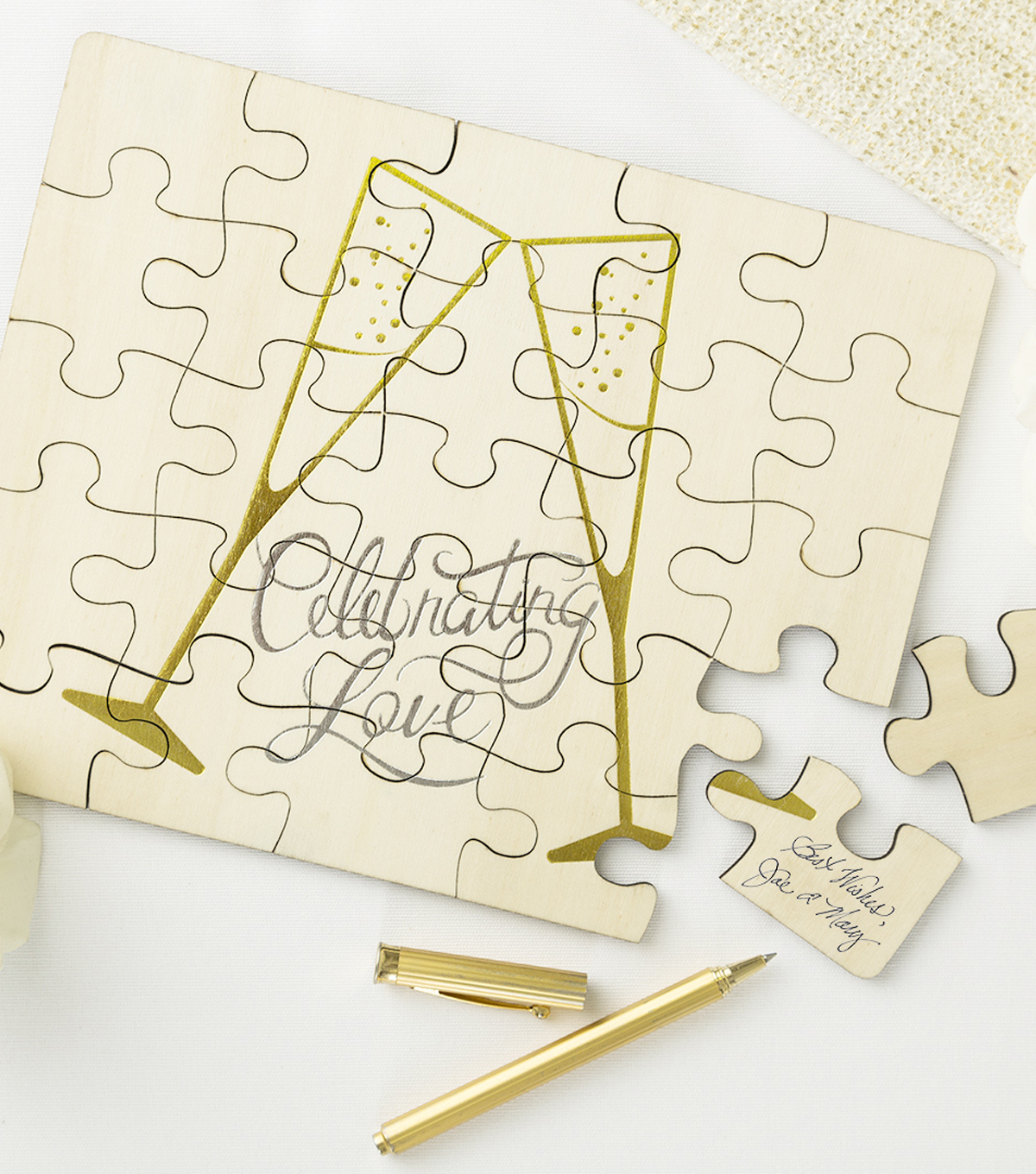 Save The Date Guest Puzzle Toast-Celebrating Love