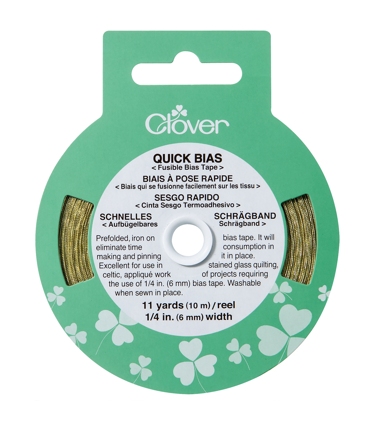 Clover Quick Bias Fusible Tape-1/4\u0022W x 11yds Gold Lame