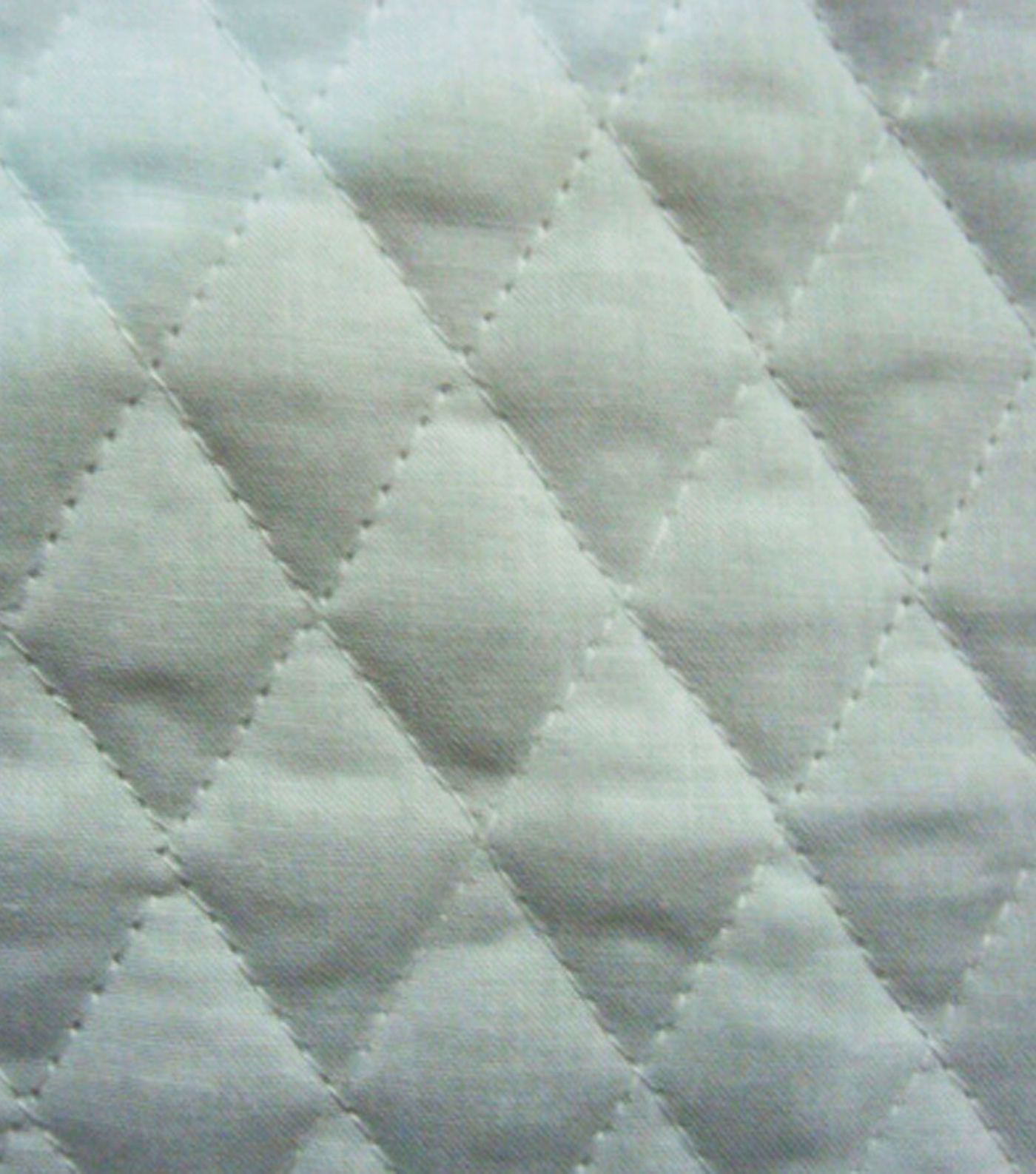 Double Faced Pre-Quilted Cotton Fabric -Diamond Solids, White