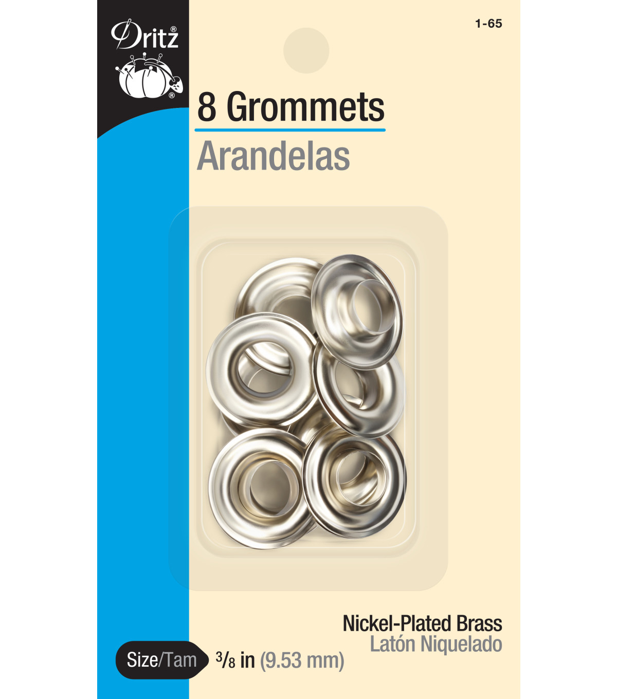 Dritz 0.38\u0027\u0027 Grommets Brass 8pcs, Nickel