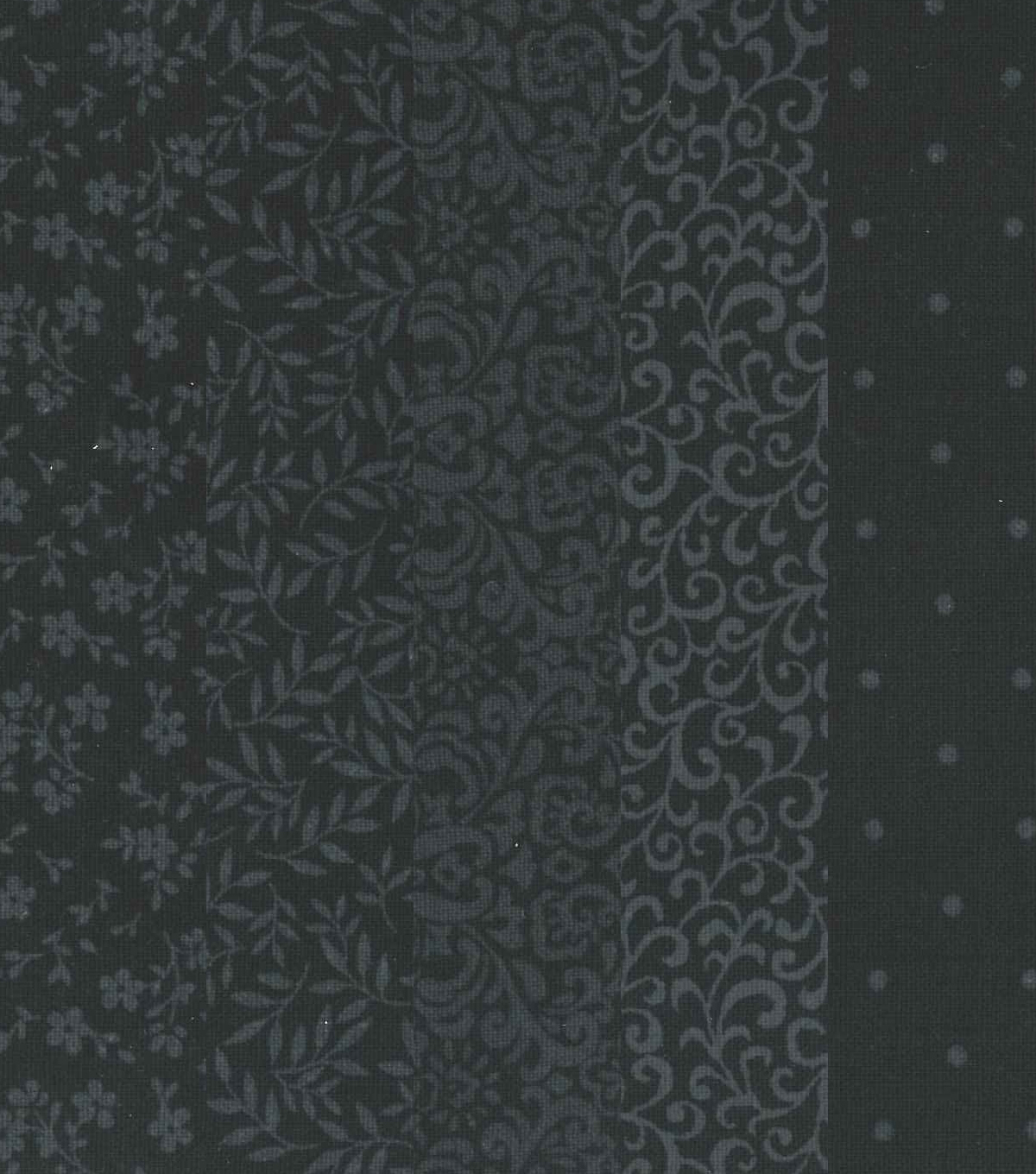 Jelly Roll Cotton Fabric 20 Strips 2.5\u0027\u0027-Assorted Black Patterns