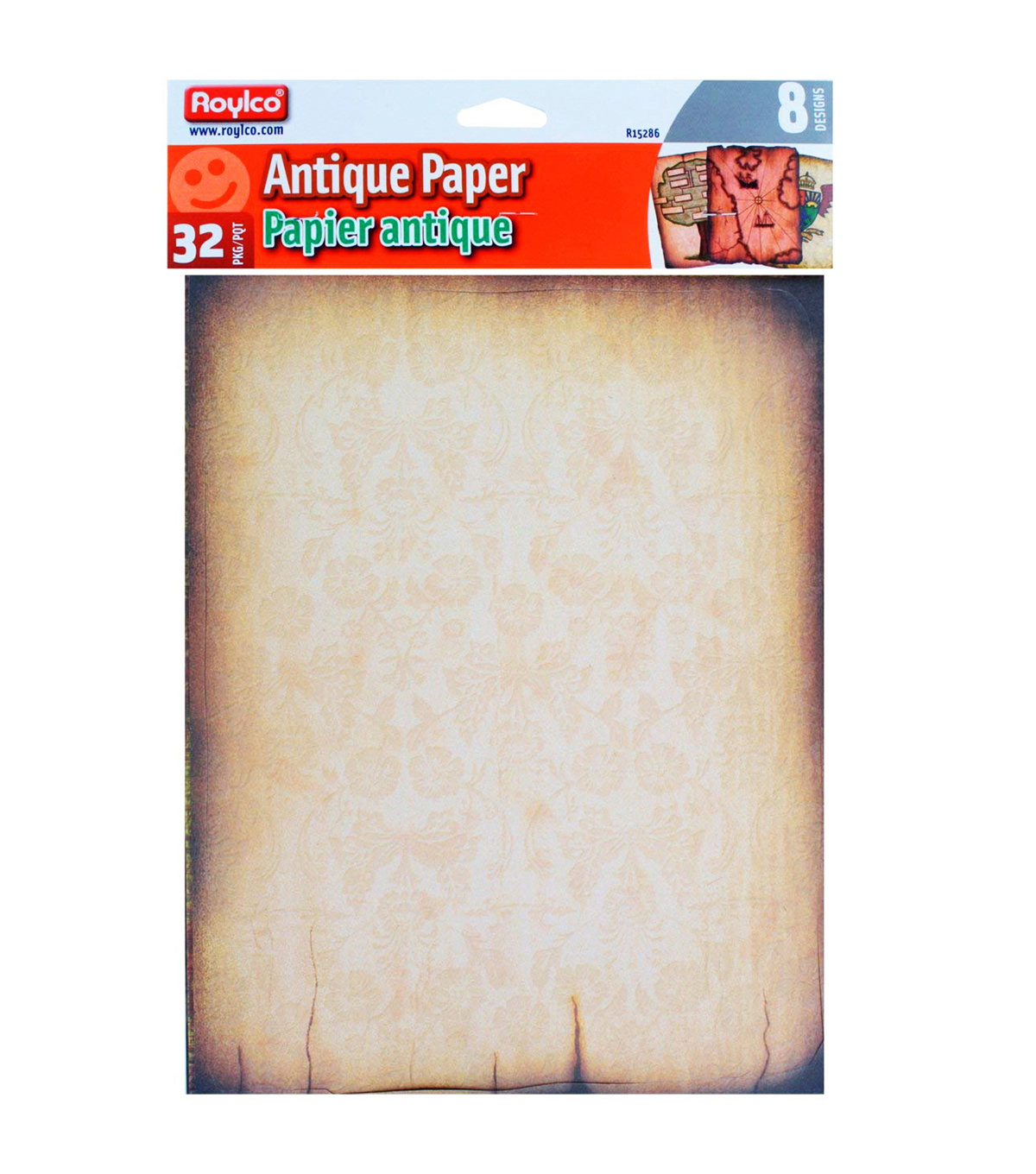 Roylco Antique Paper, 8-1/2\u0022 x 11\u0022, 32 Sheets Per Pack, 3 Packs