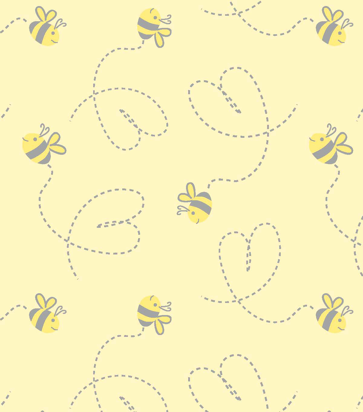 Yellow Gray Printed Nursery Fabric 42\'\'-Tossed Bumblebees | JOANN