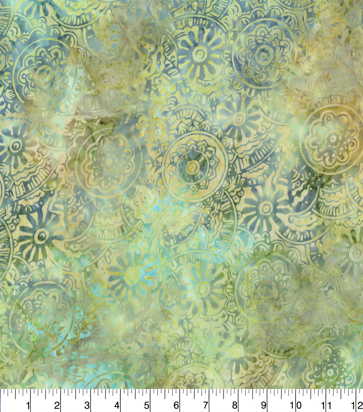 Indonesian Batik Cotton Fabric-Packed Medallion Blue Green