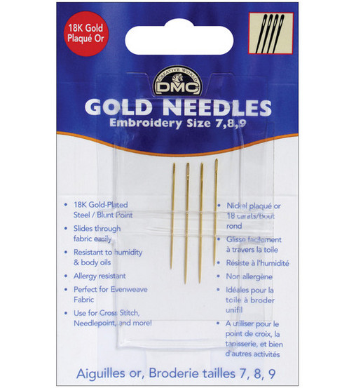 DMC Gold Embroidery Hand Needles-Size 7-8-9 4/Pkg