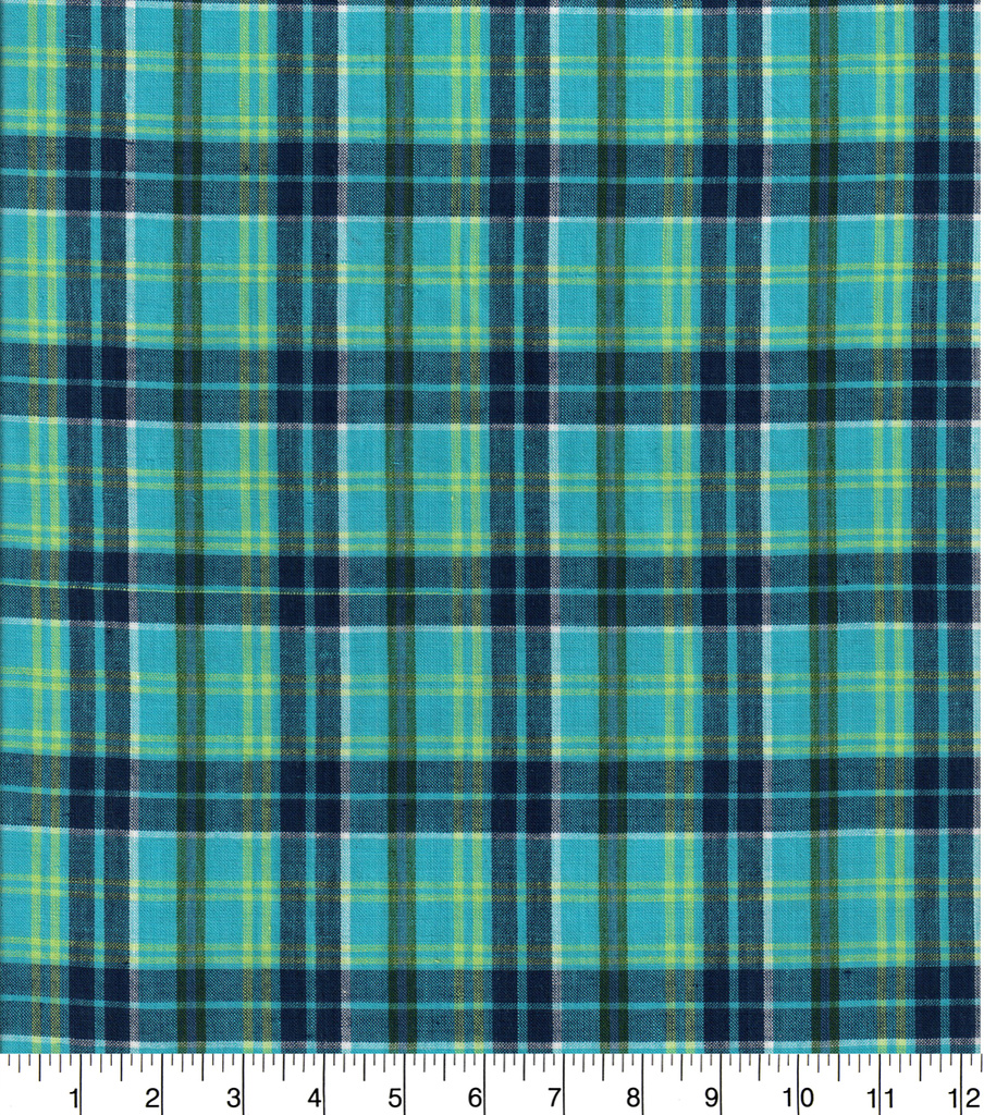 Doodles Woven Cotton Juvenile Apparel Fabric 44\u0027\u0027-Teal Plaid