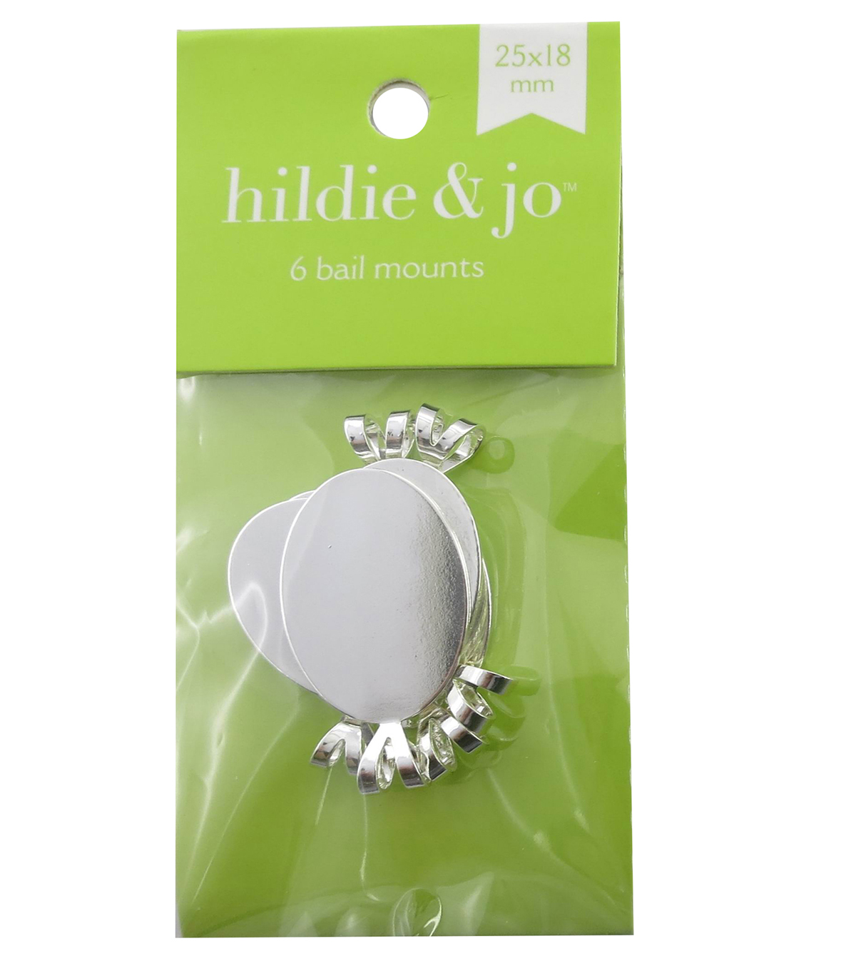 hildie & jo 6 Pack 25mmx18mm Oval Silver Bail Mounts