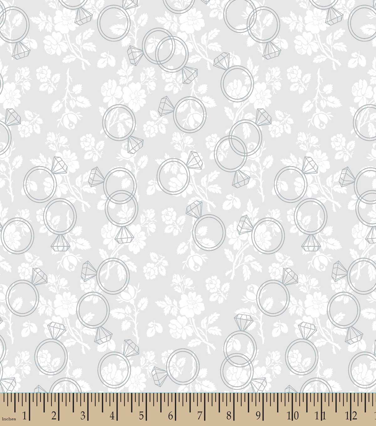 Diamond Wedding Rings Print Fabric