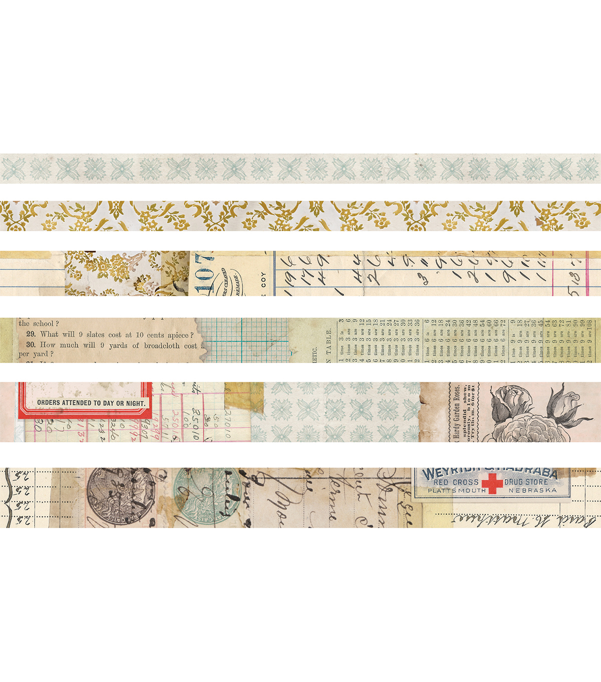 Tim Holtz Idea-ology 6 pk Design Tapes-Salvaged