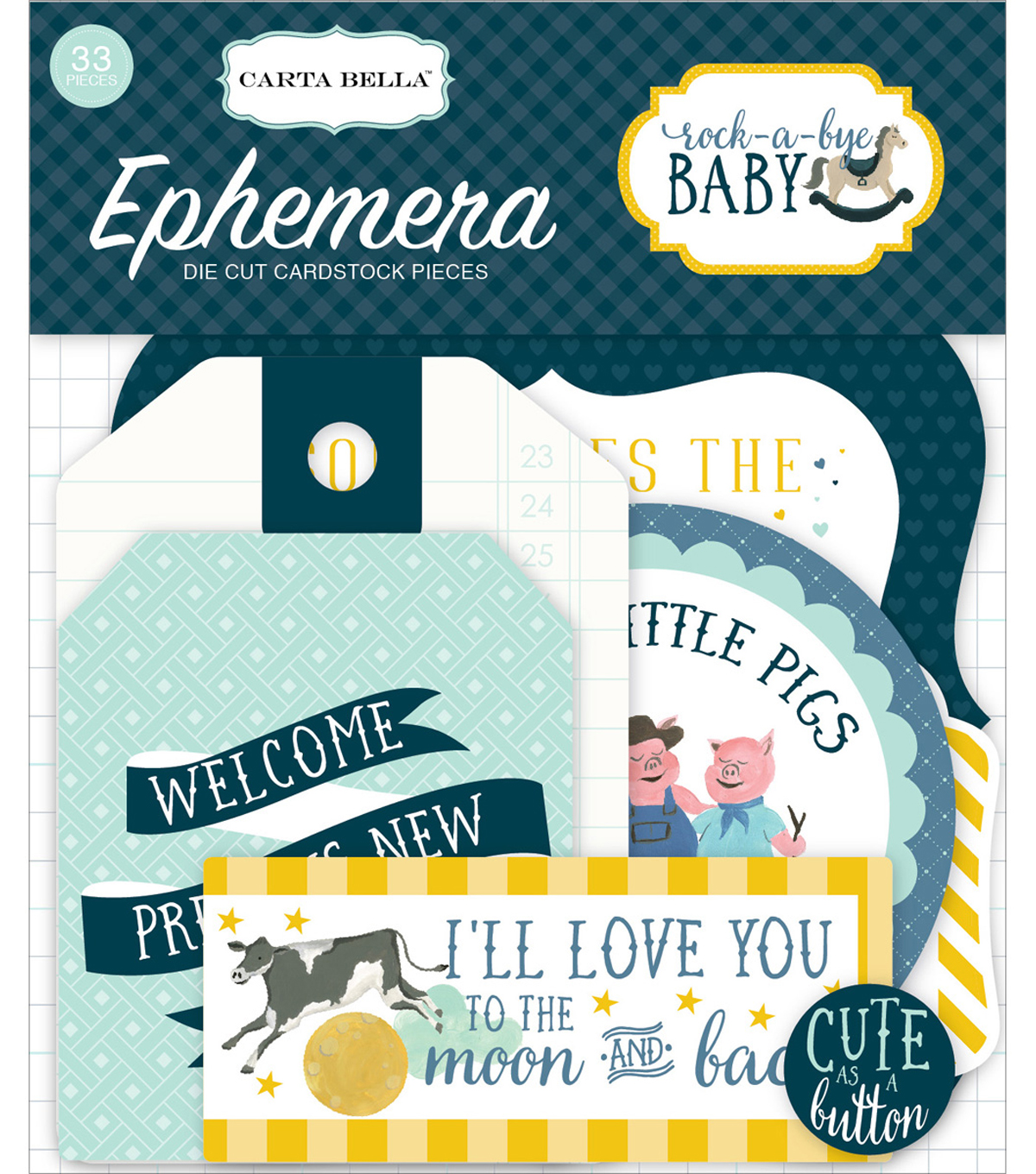 Carta Bella Ephemera Cardstock Die Cut Pieces-Rock A Bye Baby Boy