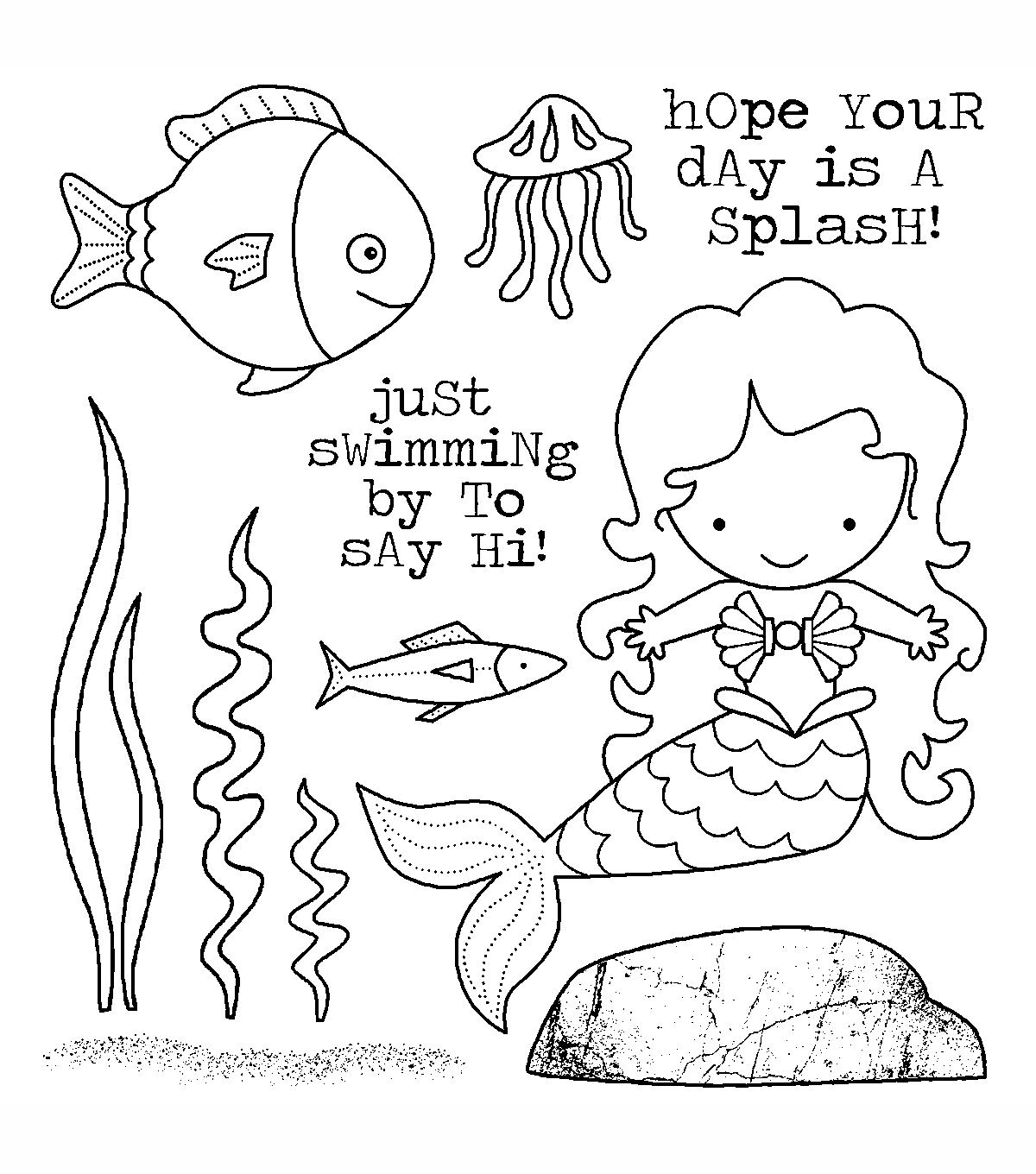 Darcie\u0027s Cling Mounted Rubber Stamps-Mermaid