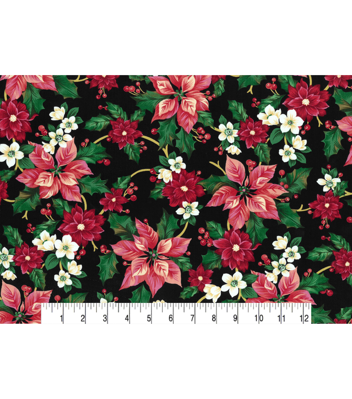 Christmas Cotton Fabric-Painted Poinsettias