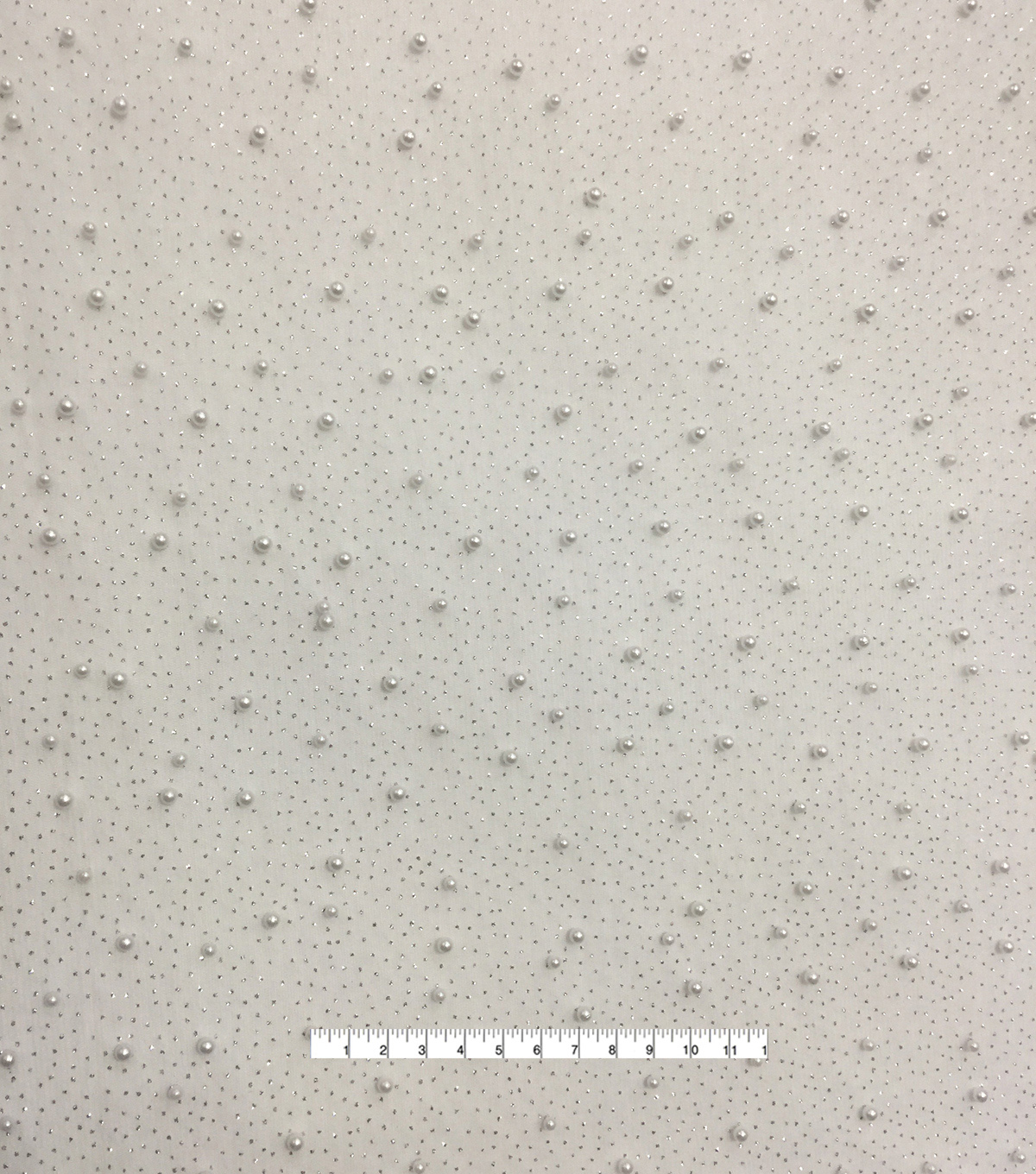 Save The Date Mesh Fabric 49\u0022-Glitter Pearl Bright White