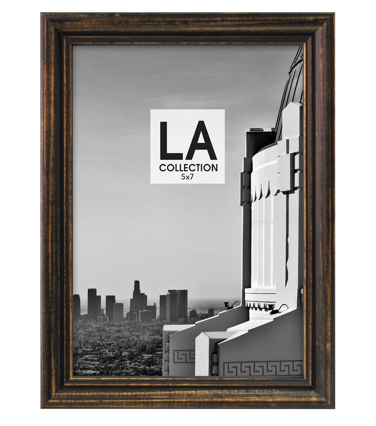 LA Collection Traditional Distressed Tabletop Frame 5x7-Black