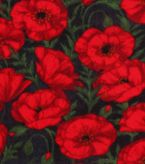 Anti-Pill Fleece Fabric -Red Poppies Distressed Black