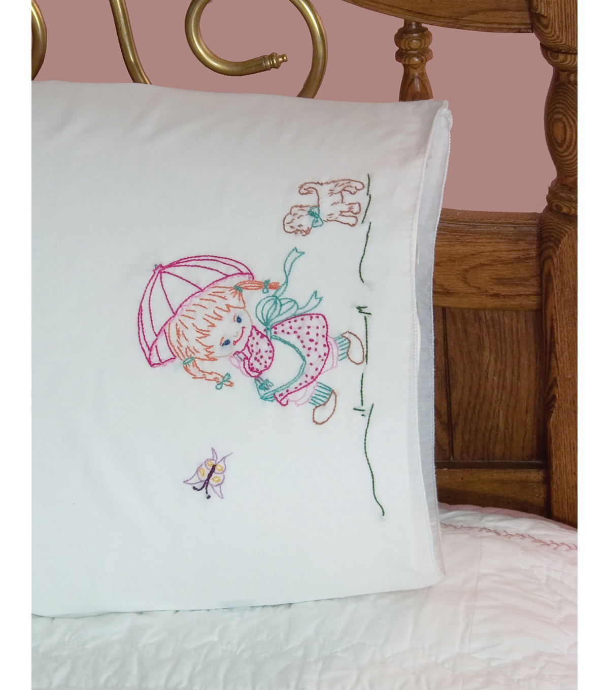 Fairway Needlecraft 30\u0027\u0027x20\u0027\u0027 Stamped Perle Edge Pillowcases-Boy & Horse