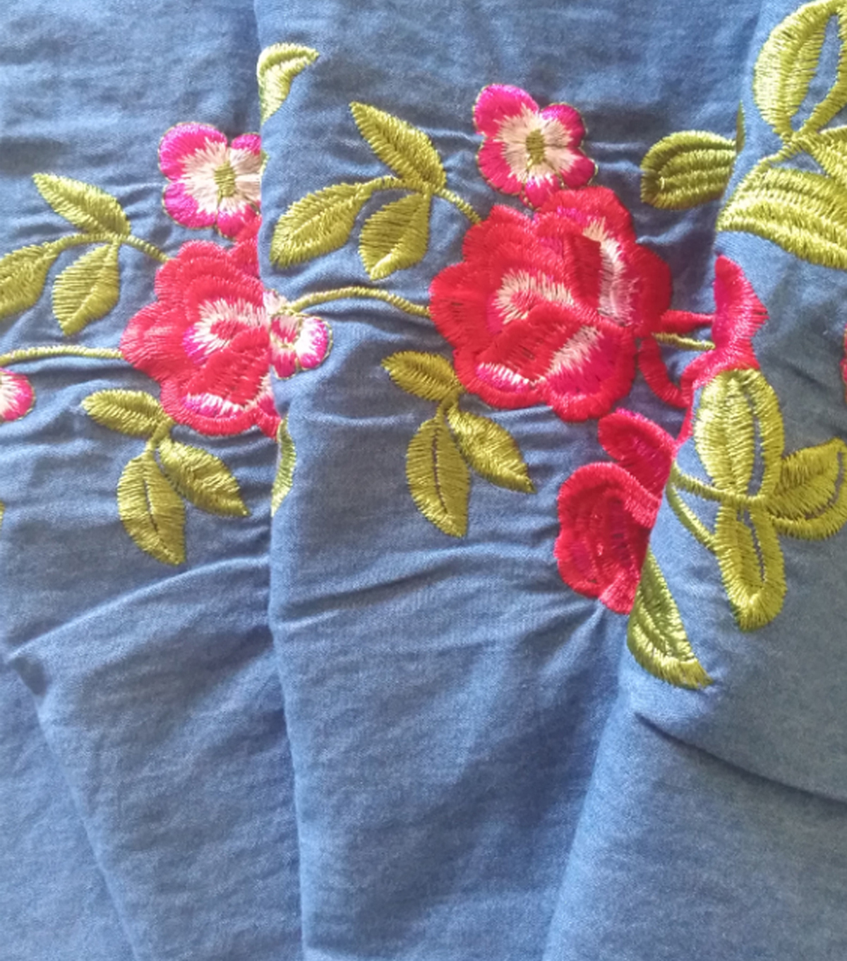 Sportswear Denim Fabric 55\u0022-Pink Embroidered Floral