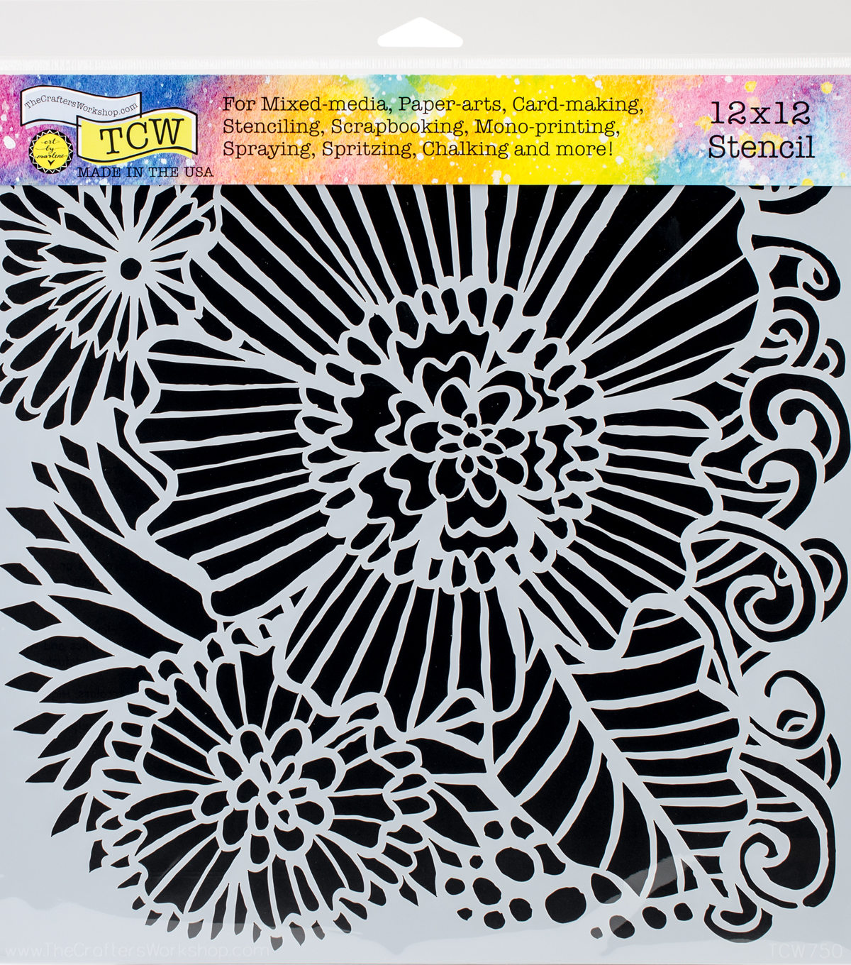 Crafter\u0027s Workshop Marlene Template 12\u0027\u0027x12\u0027\u0027-Dahlia Blooms