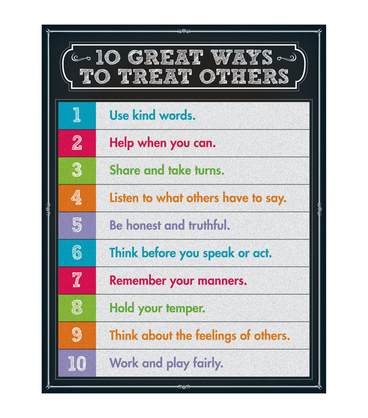 Carson-Dellosa 10 Great Ways to Treat Others Chart 6pk