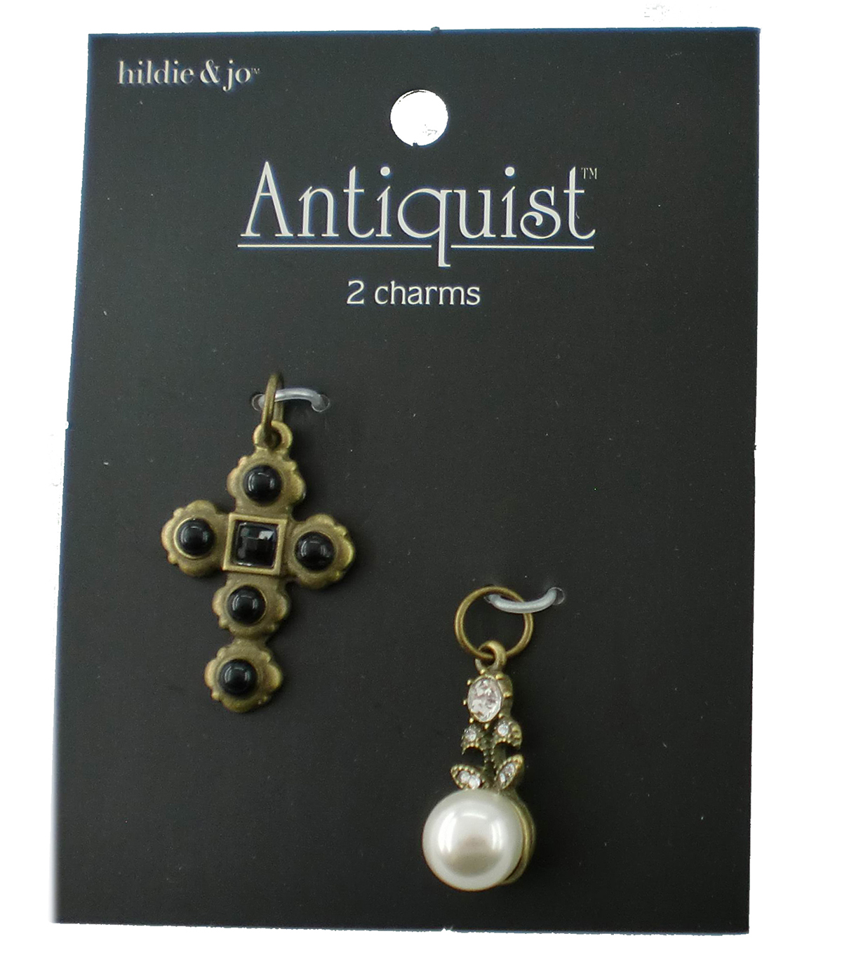 hildie & jo Antiquist 2 Pack Cross & Pearl Antique Gold Charms