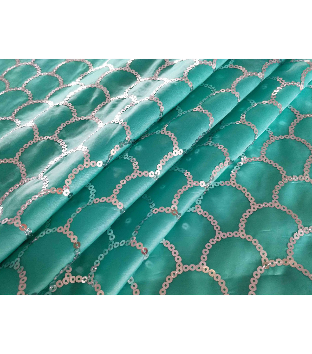 Glitterbug Sequin Fabric 31\u0027\u0027-Silver Scallop on Light Turquoise