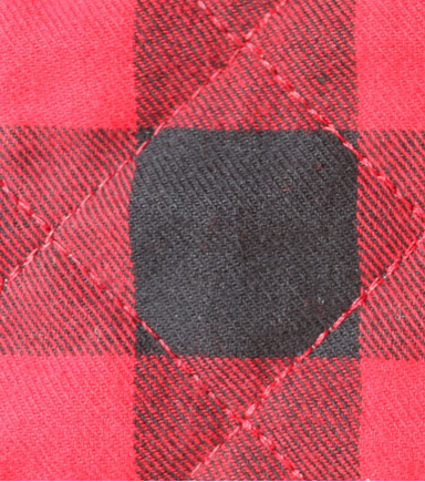 Doodles Knit Fabric -Red Black Plaid