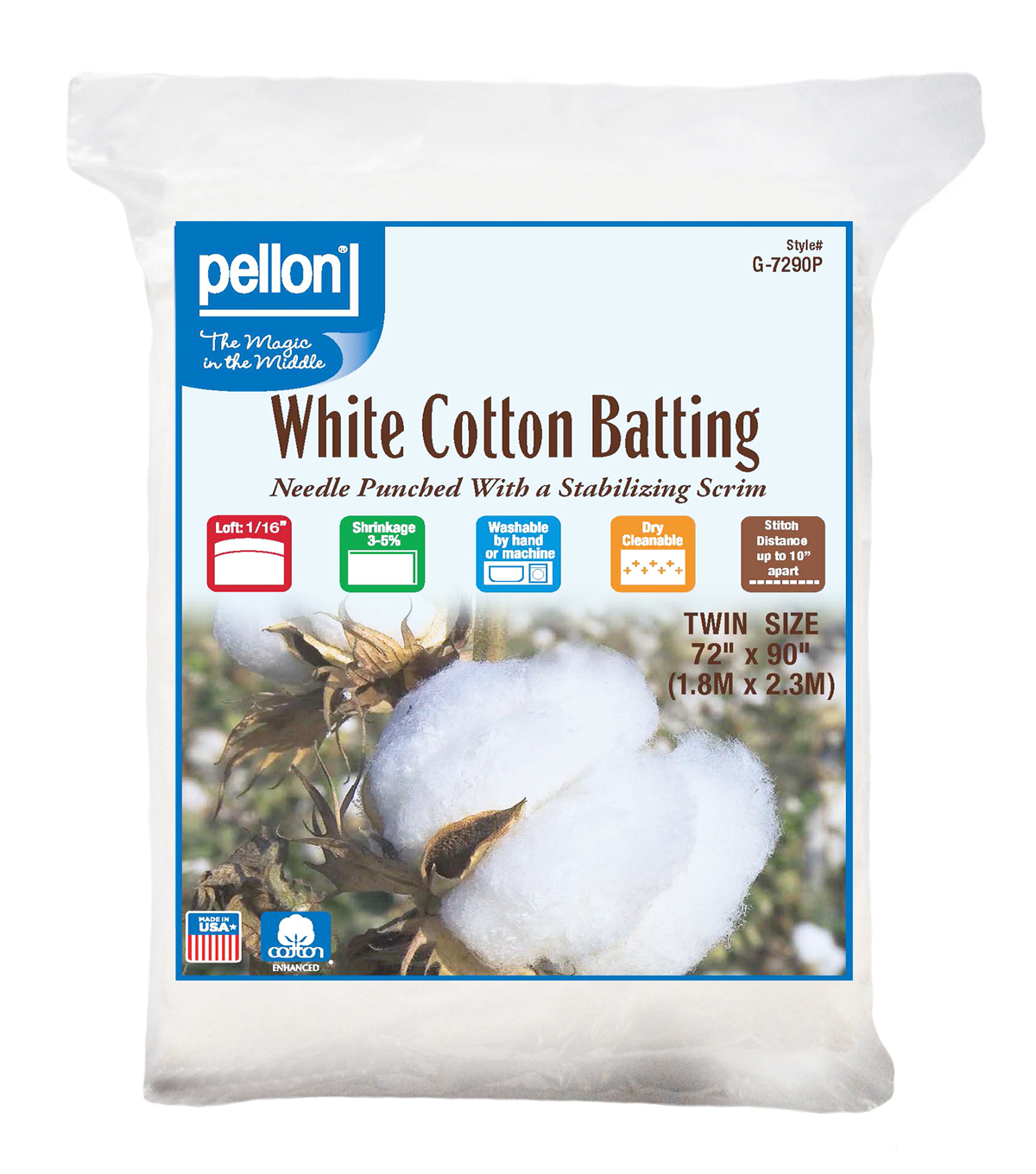 Pellon White Cotton Batting-Twin