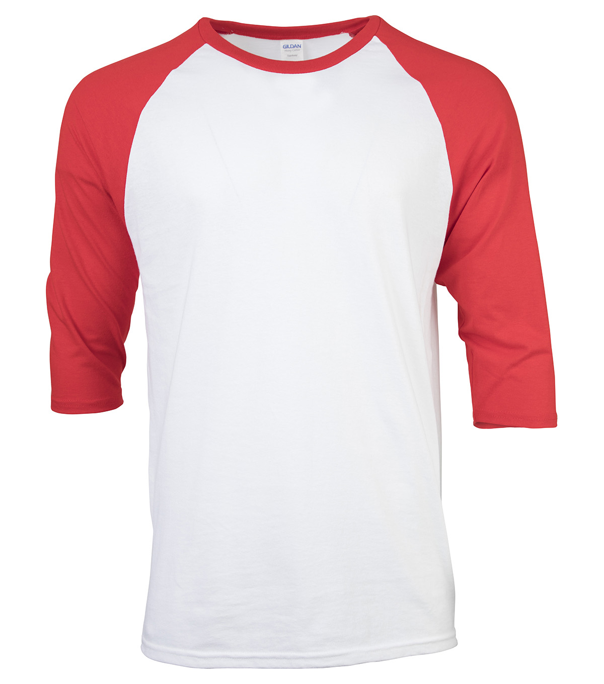 Gildan Large Adult Raglan Crew Sport T-Shirt, White-red