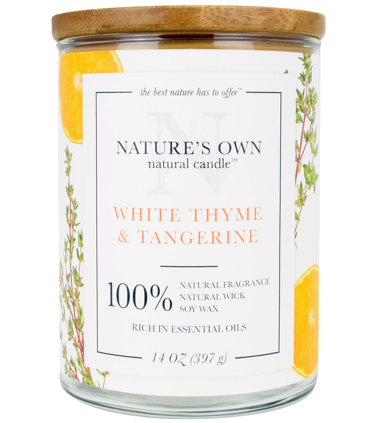 Nature\u0027s Own Natural Candle-White Thyme and Tangerine