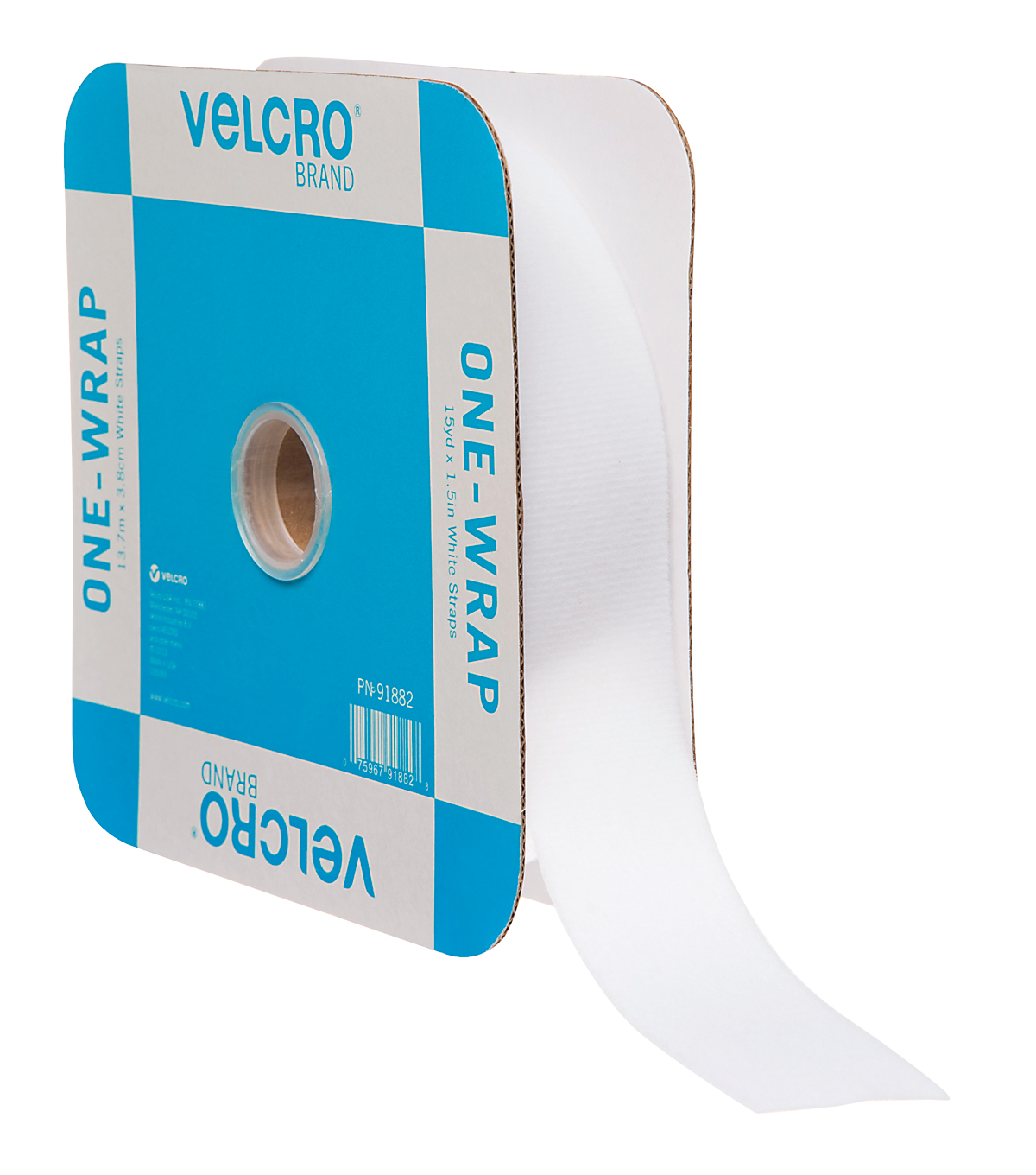 VELCRO Brand ONE-WRAP Roll 45ft x 1 1/2in Tape, White, Flange