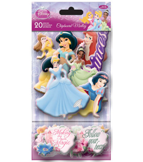 Sandylion 20 pk Princess Chipboard Medley Glitter Stickers