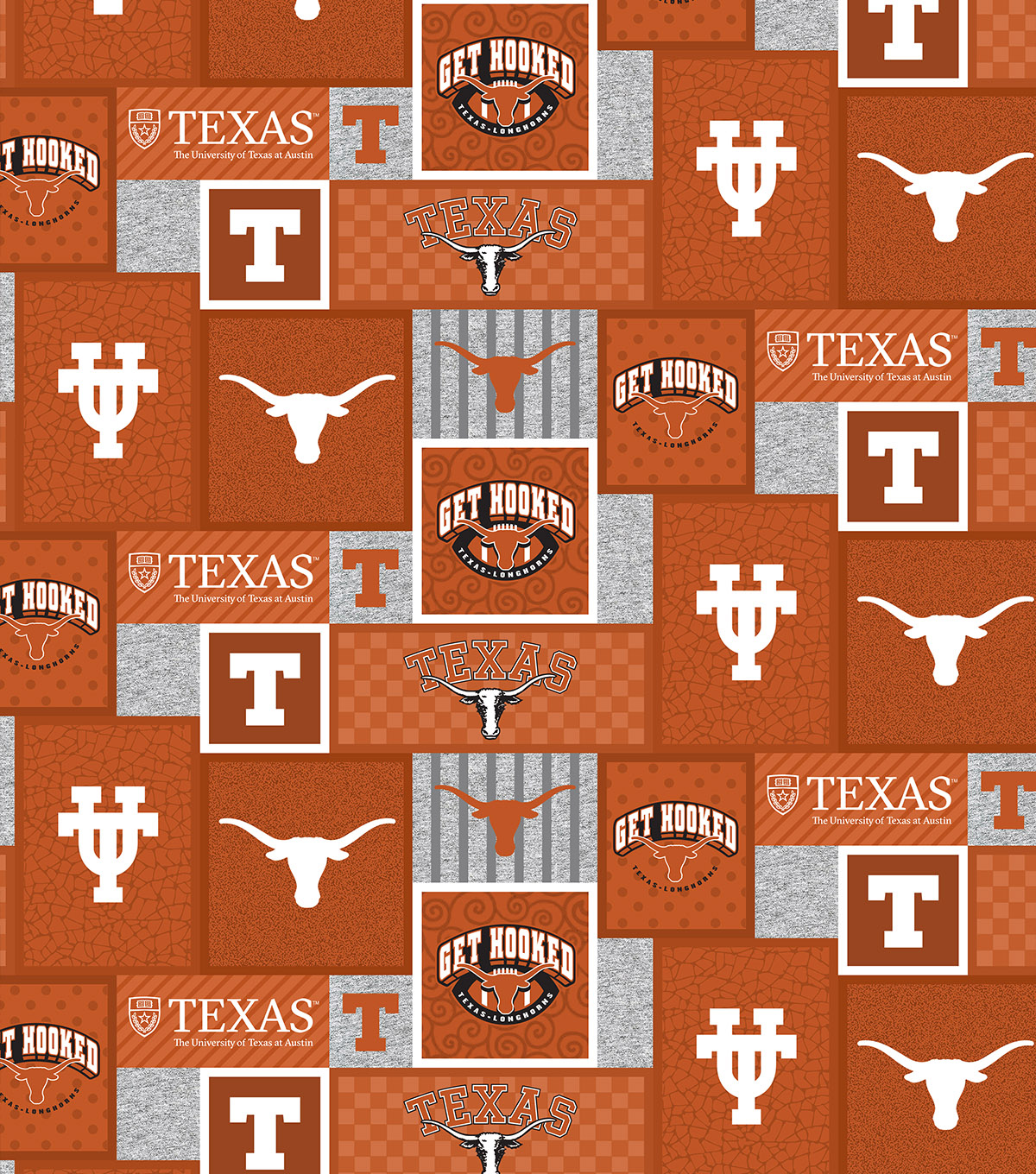 University of Texas Longhorns Fleece Fabric-College Patch