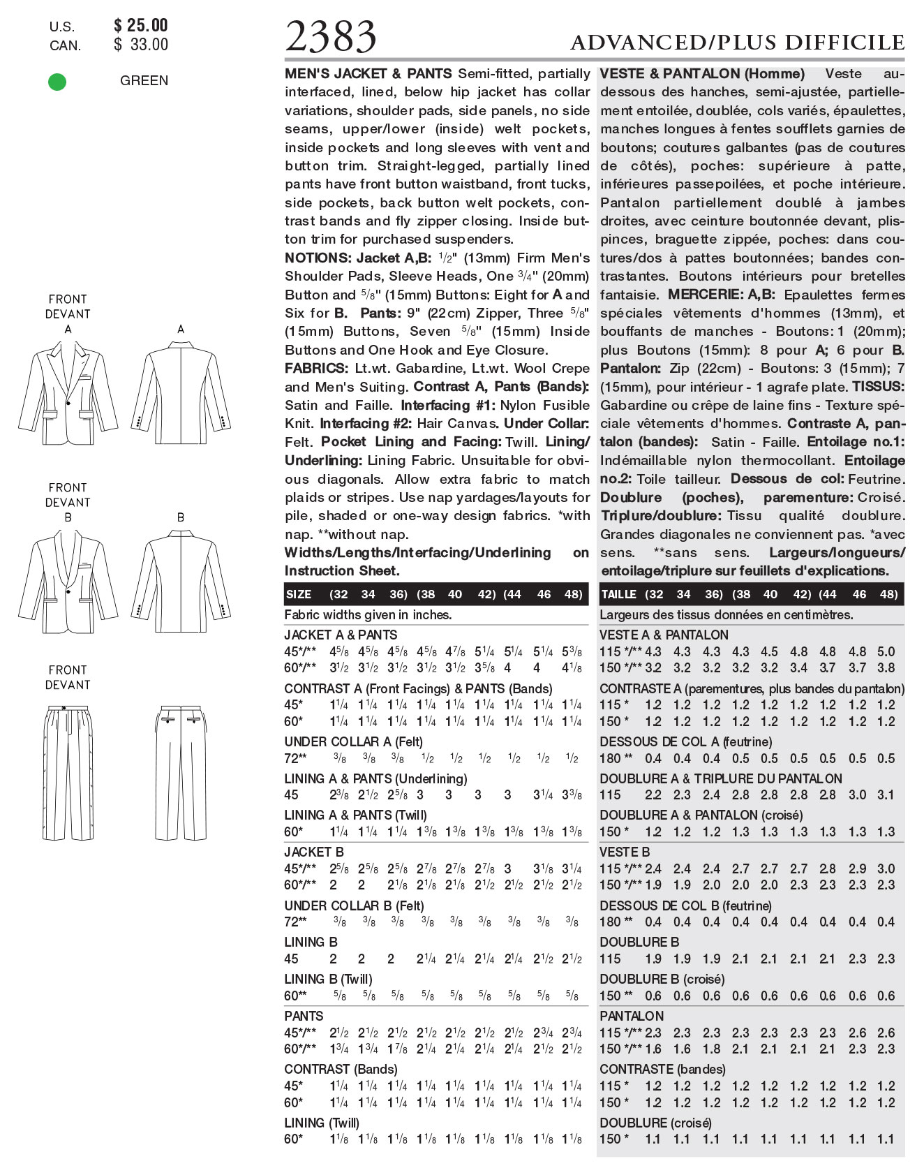 Vogue Patterns Mens Suits-V2383