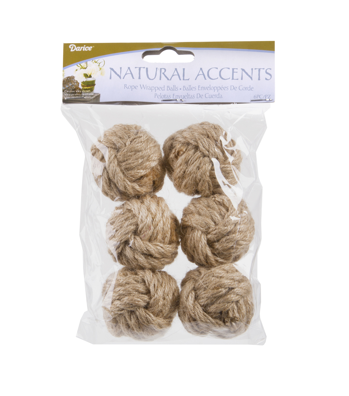 Darice Floral Rope Wrapped Ball-Natural