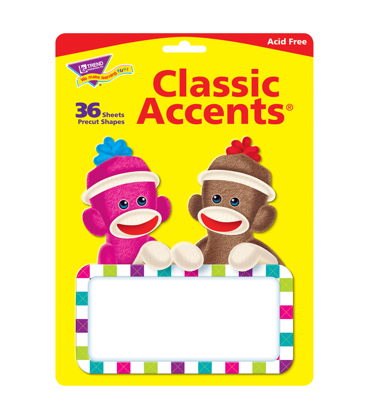 Sock Monkeys Signs Classic Accents, 36 Per Pack, 6 Packs