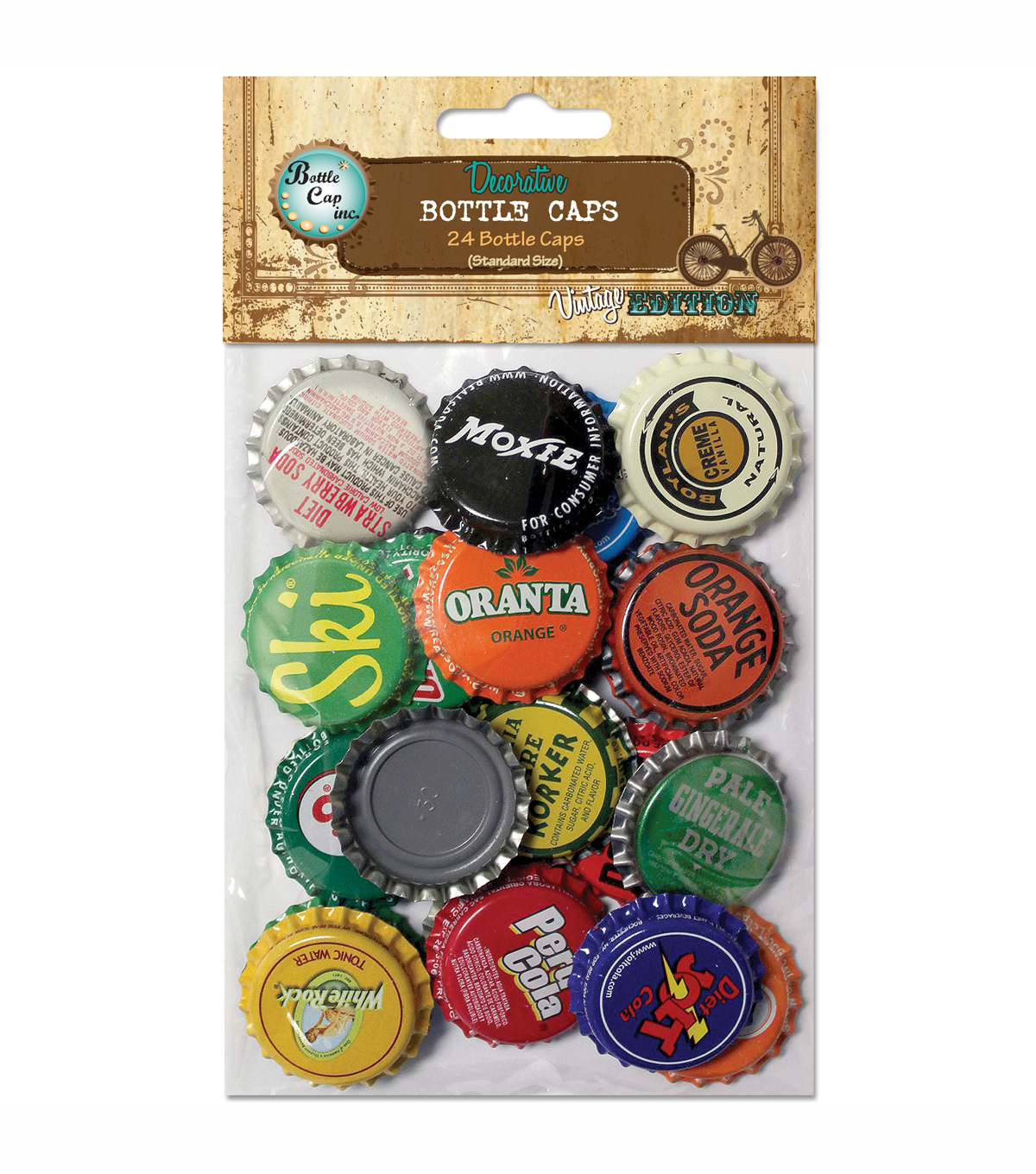 Vintage Collection Standard Bottle Caps 1\u0022 24/Pkg-Vintage Blend