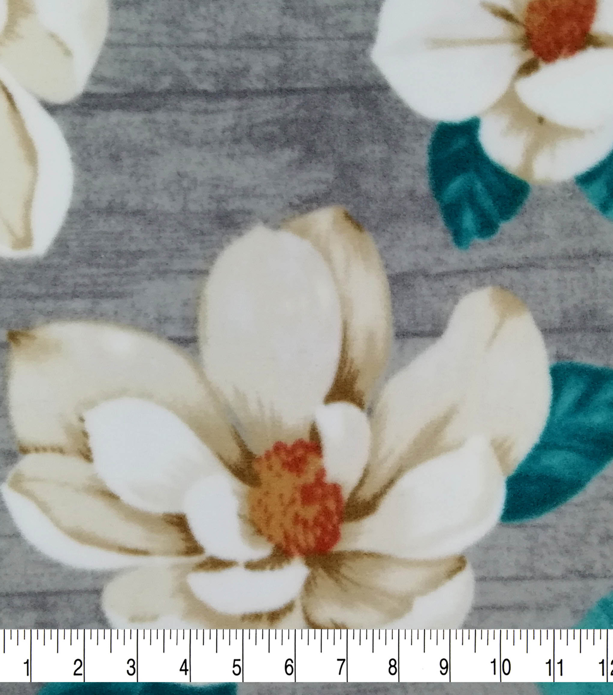 Specialty Luxe Fleece Fabric-Magnolias on Gray Wood